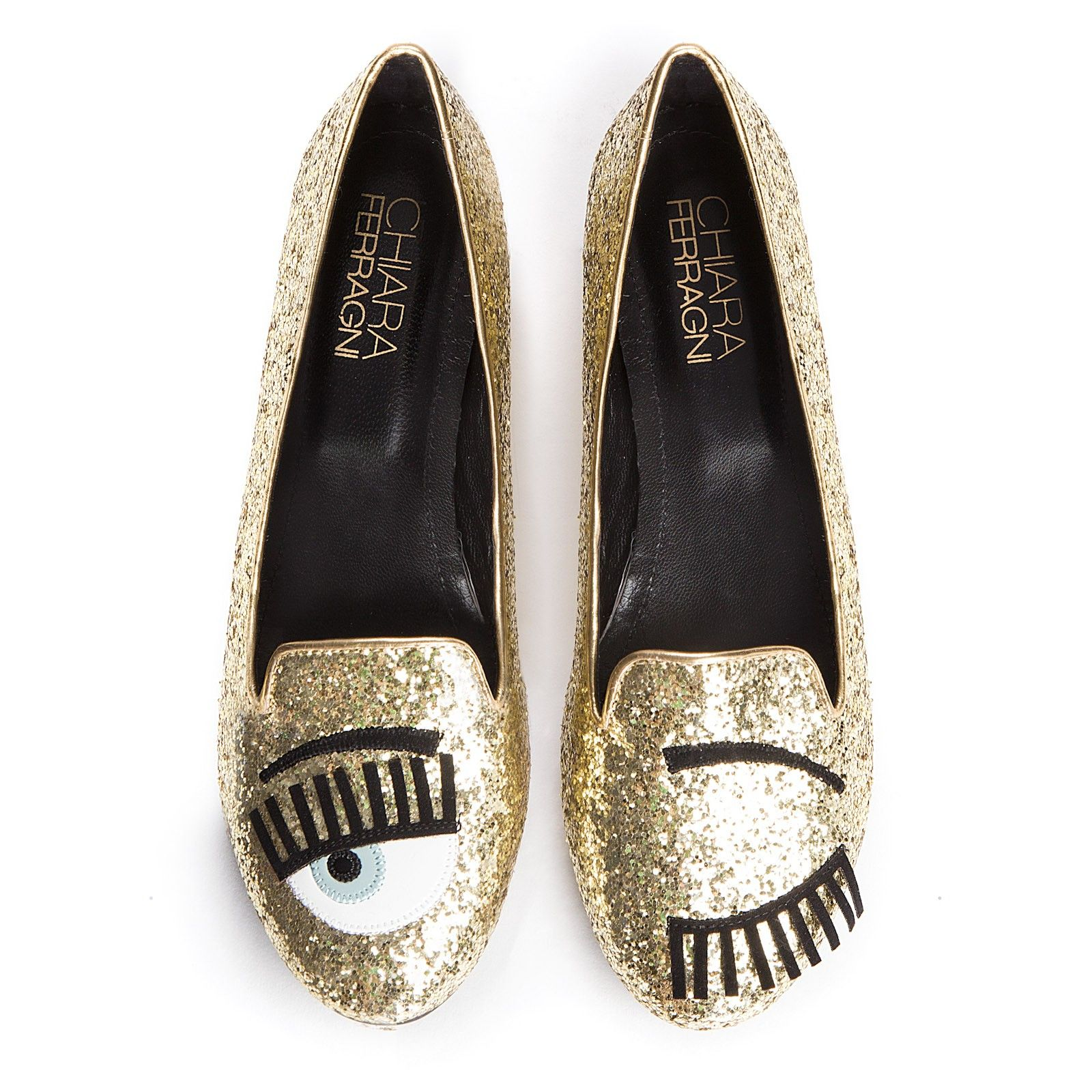 a9c84e499 Chiara Ferragni (The Blonde Salad) flirting gold glitter flats, £170 ...