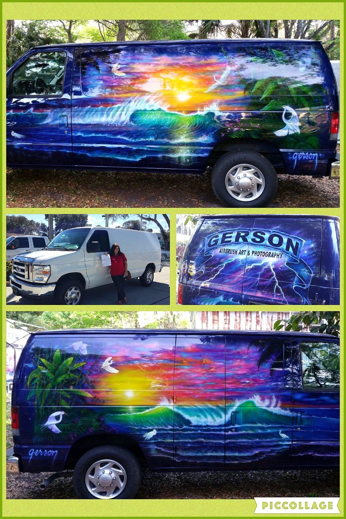 Gerson custom air brush mural Great art skill Personally I think for a more modern van chevy is bet