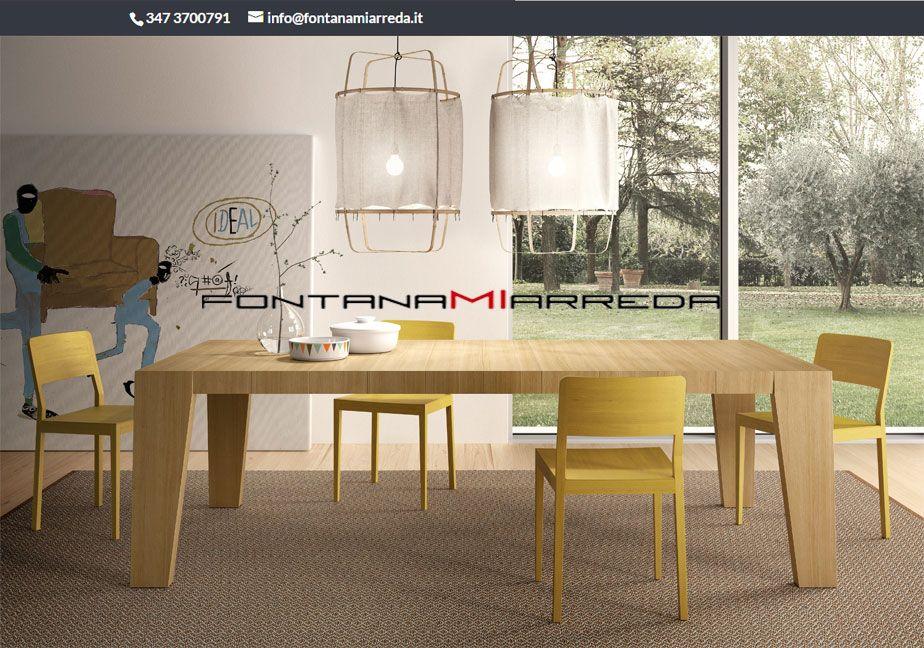 Tavolo Allungabile Giallo : Tavolo in rovere naturale rettangolare abbinato a sedie giallo