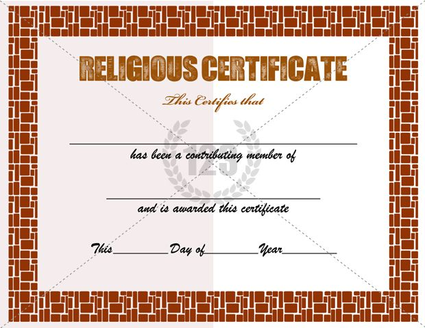 Religious Certificate Templates for Your Church Activities - blank certificates template