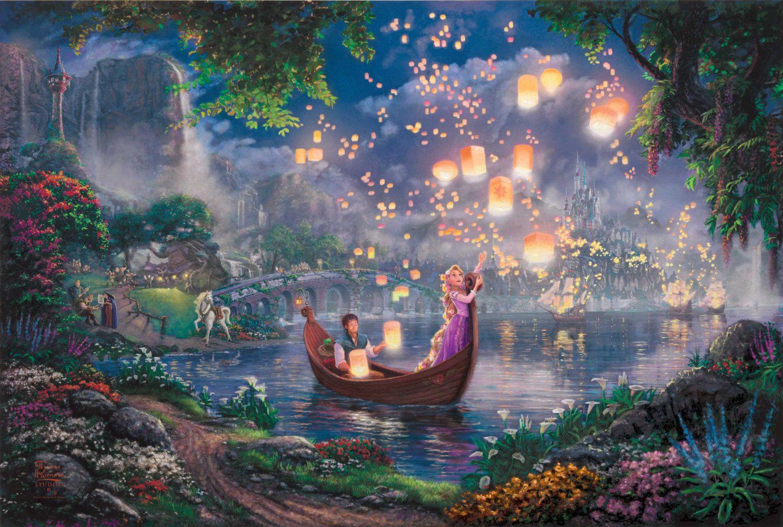 Disney Oil Paintings Thomas Kinkade Tangled by ThomasArtwork, $46.00
