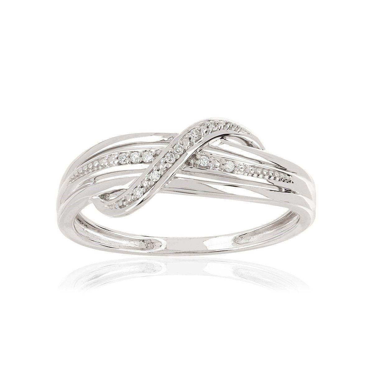 bague or blanc et diamant taille 62