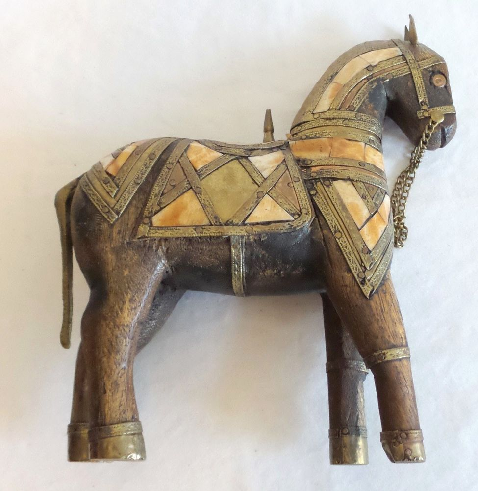 Beautiful Hand Carved Wooden War Horse Sculpture Inlaid