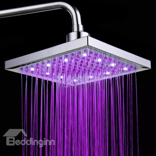 Temperature Control Led Changing Color Pure Copper Shower Head Faucet Led Shower Head Purple Bathrooms Shower Heads