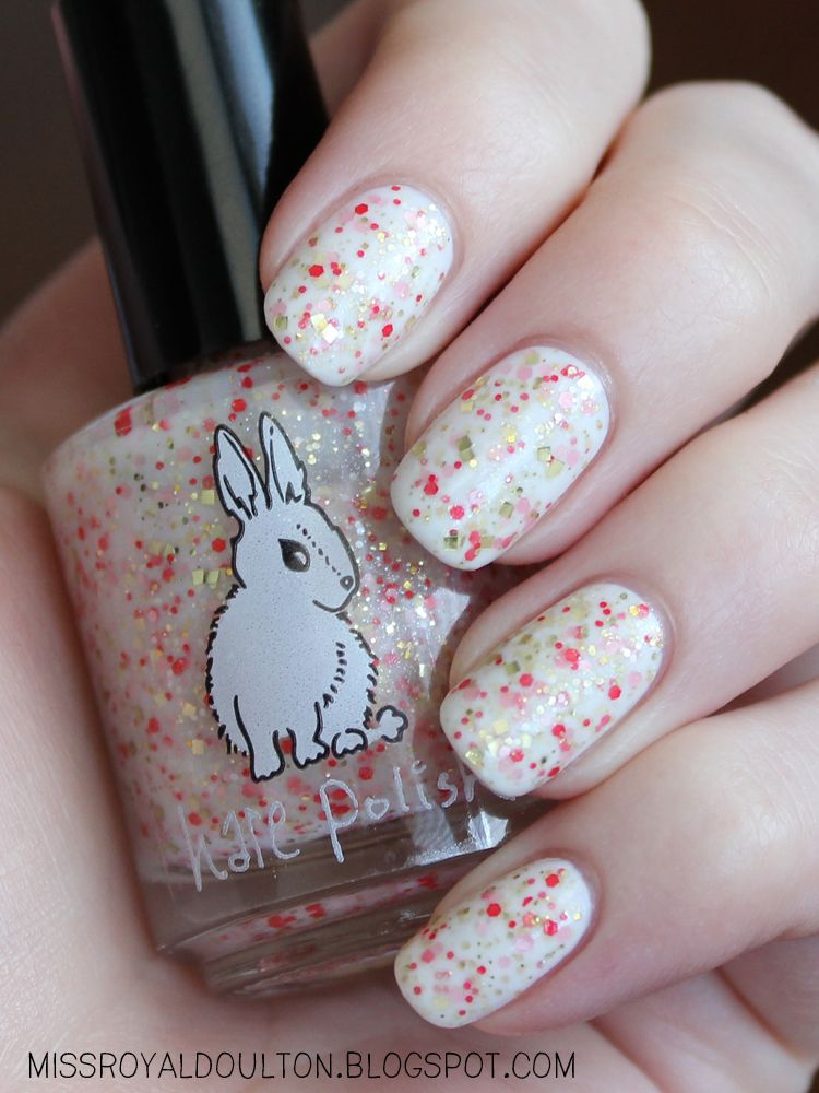 Hare Polish Let Them Eat... What? over Essie Marshmallow