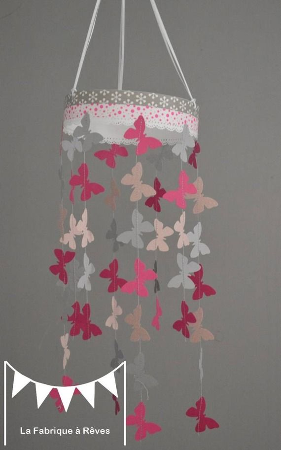 Mobile suspension papillons rose poudr gris et rose - Decoration chambre bebe fille rose et gris ...
