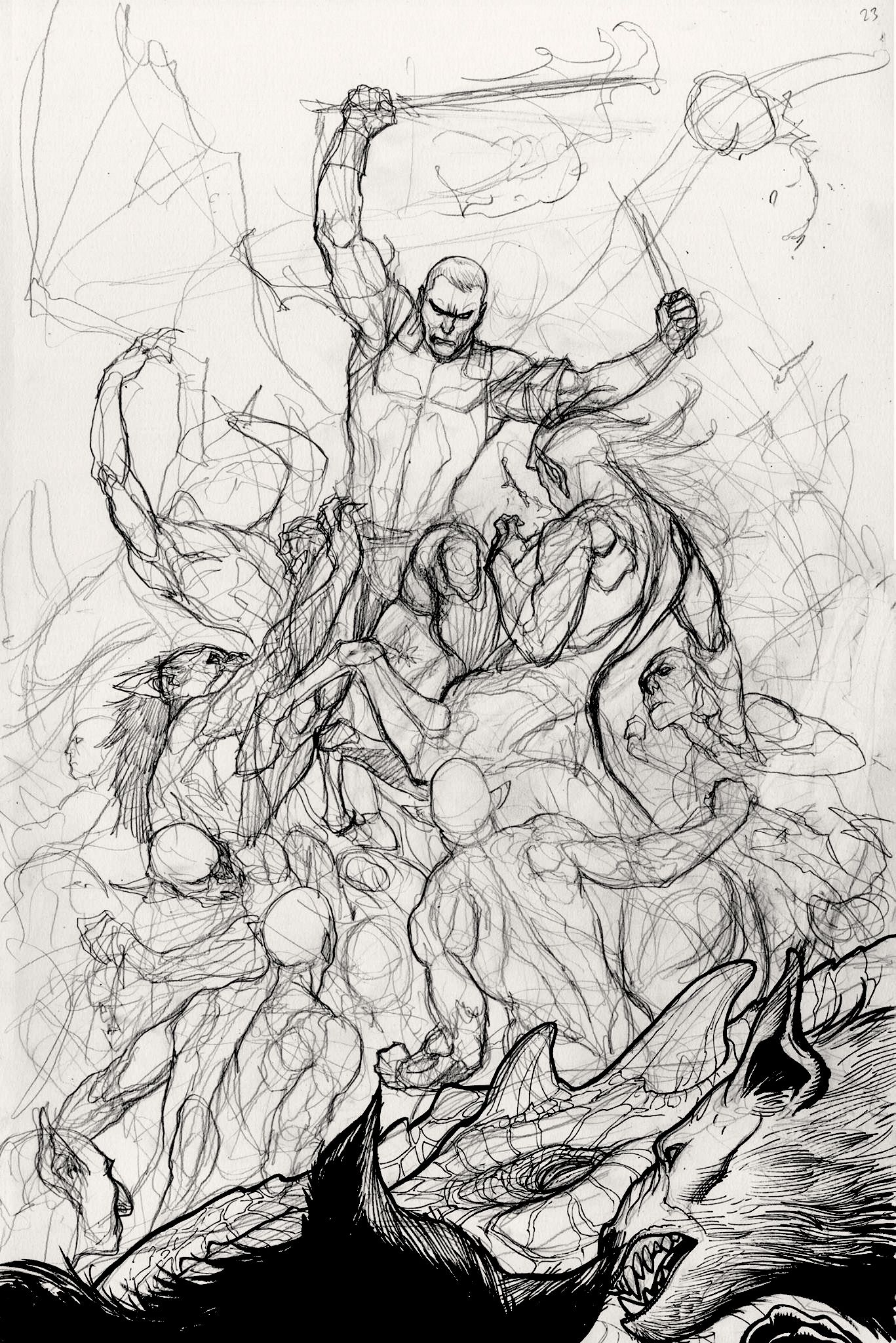 Skybourne 4 Epic Battle Page Work In Progress By Frank Cho Comic