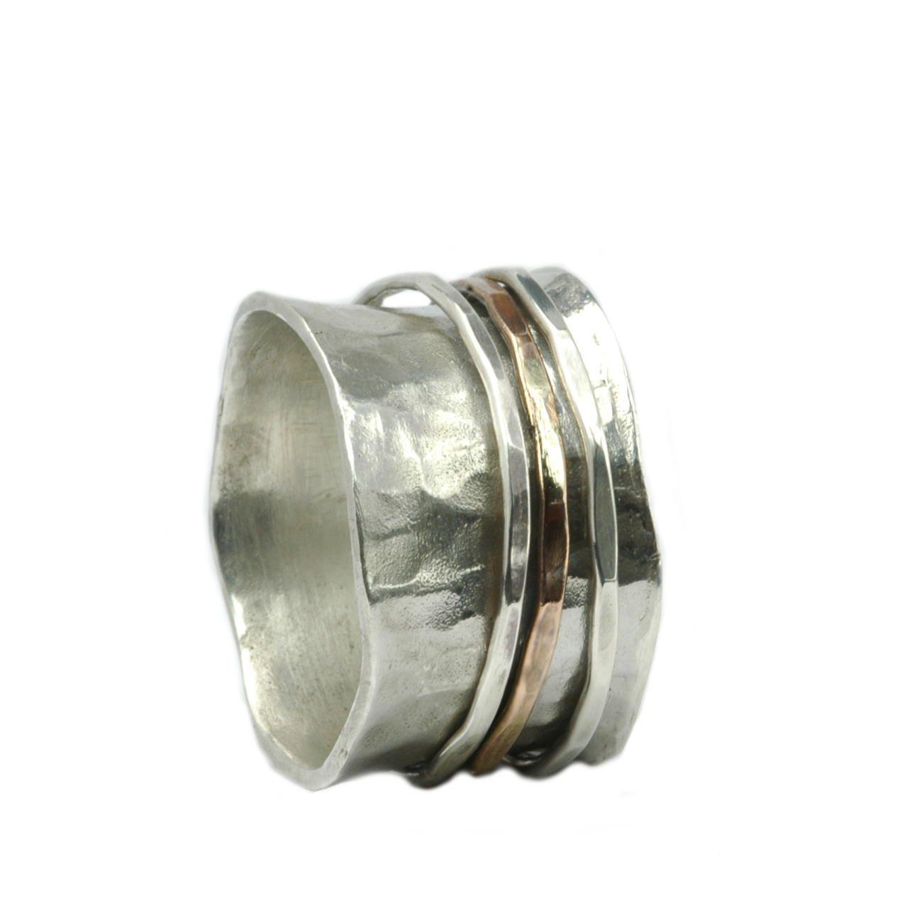 Freundschaftsringe silber breit  Breiter Ring Sterling Silber mit bewegliche Silber- und ...
