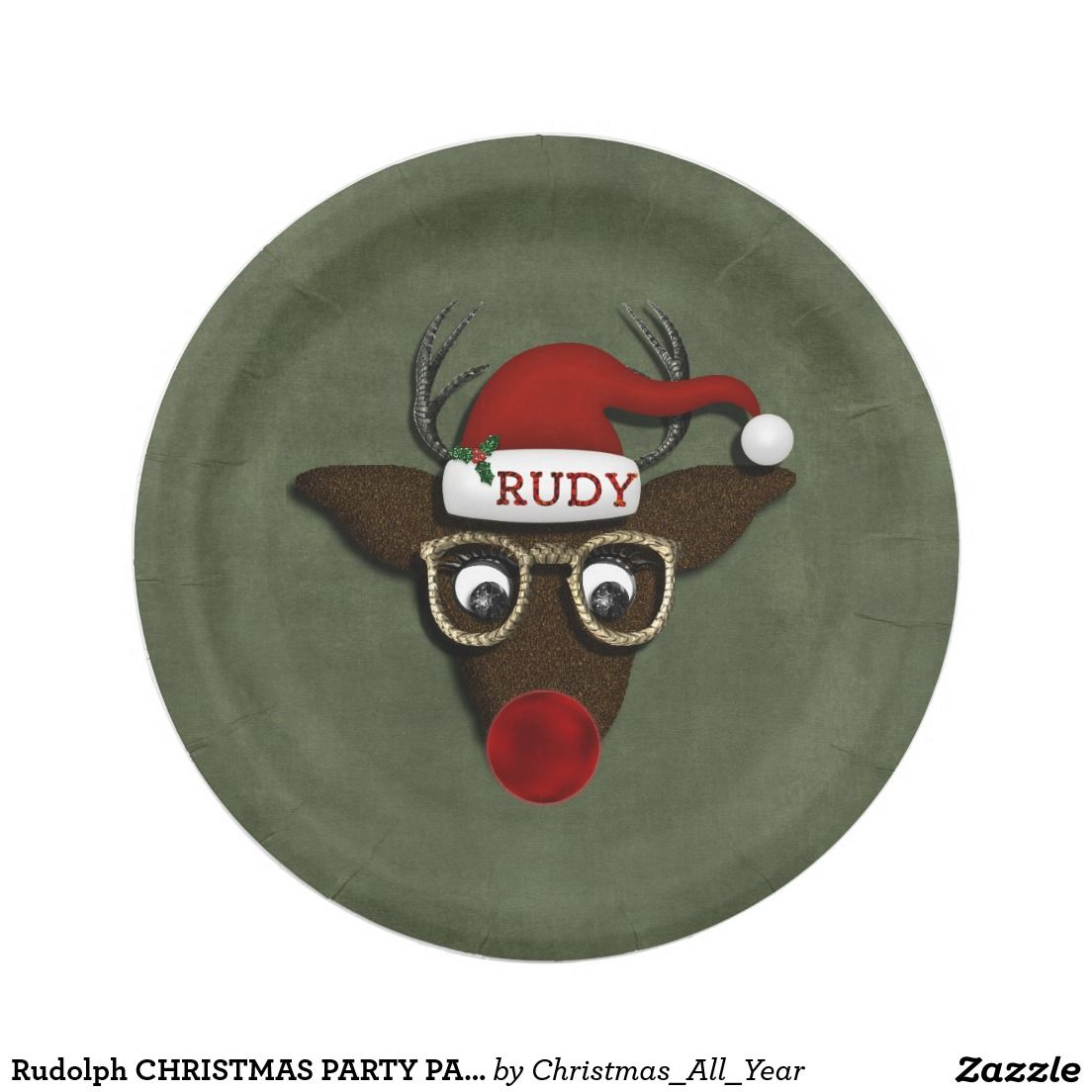 Christmas Party Paper Plates Part - 37: Rudolph CHRISTMAS PARTY PAPER PLATES