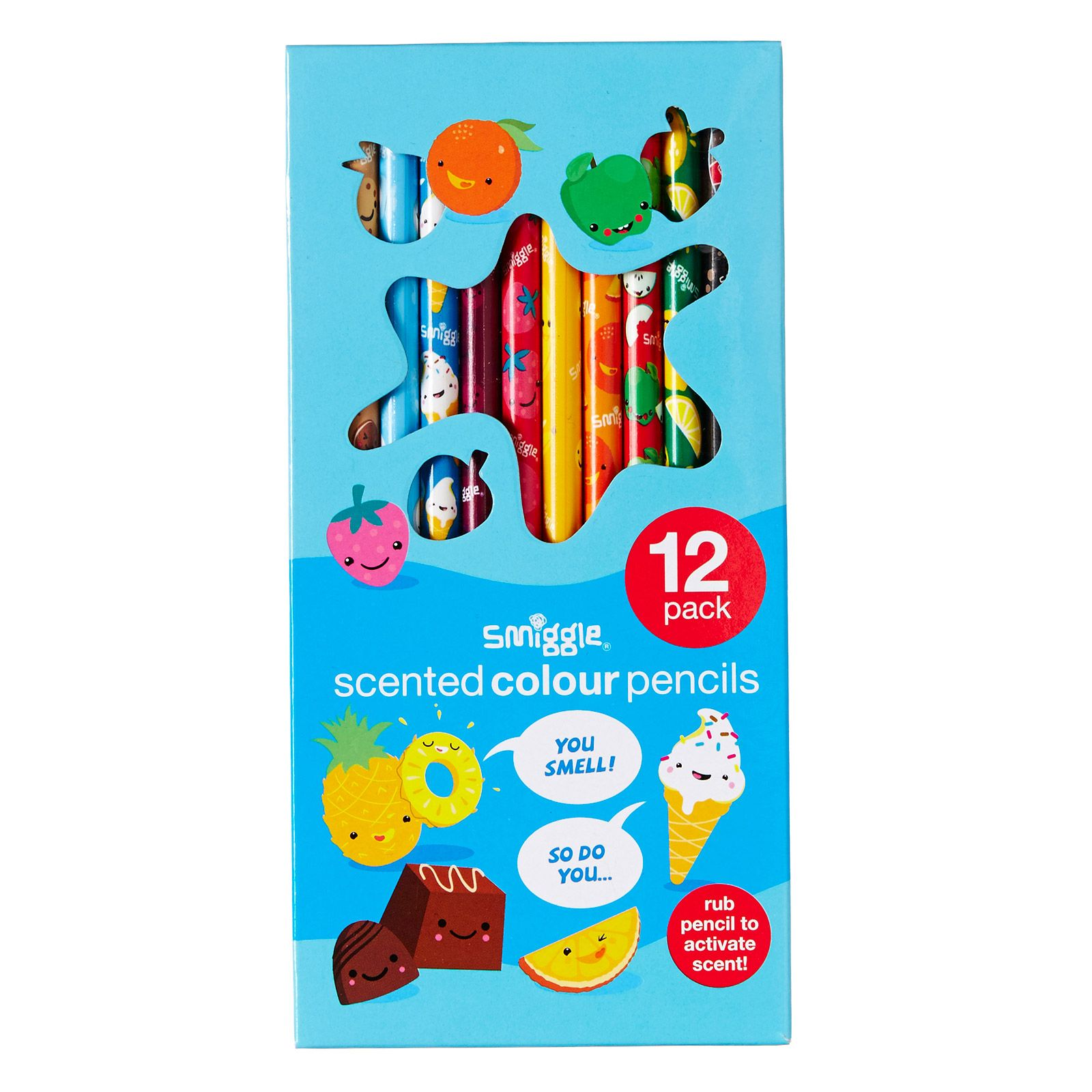 Image for scented pencil pack x12 from smiggle uk indigo