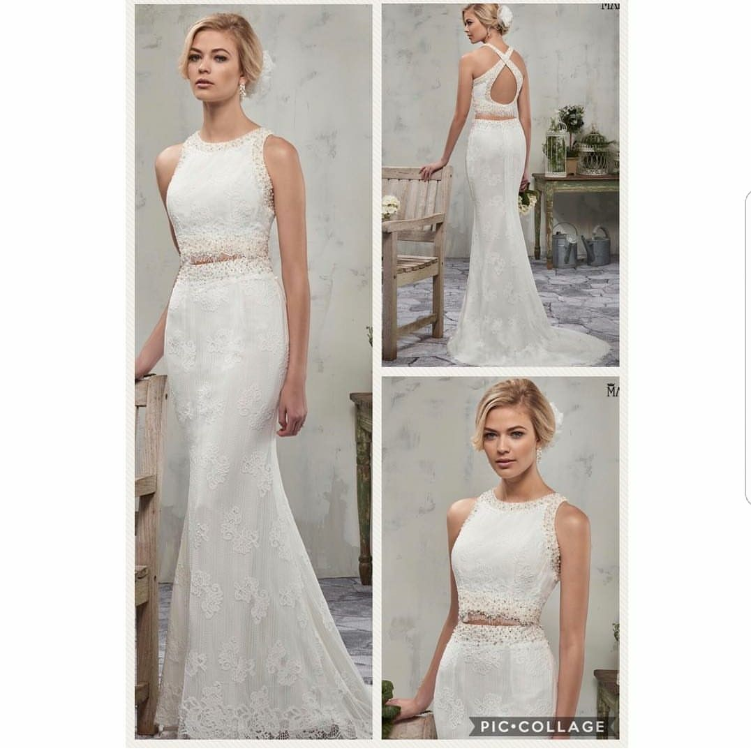 Beaded sheath wedding dress  Lace sheath wedding dress with beads and pearls cross back jewel