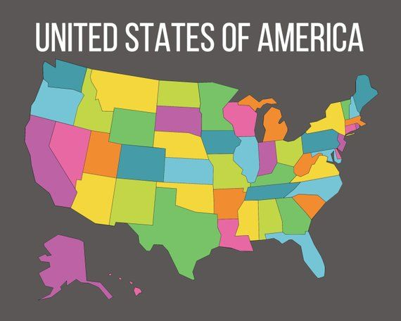 Map of the United States, Instant Download Map, USA Map with ...