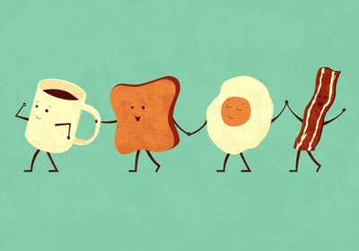 """""""Let's all go and have breakfast together,"""" Delighful, simple, silly, fun, cup, toast, egg and bacon holding hands walking in a line. By Teo Zirinis at Society6"""
