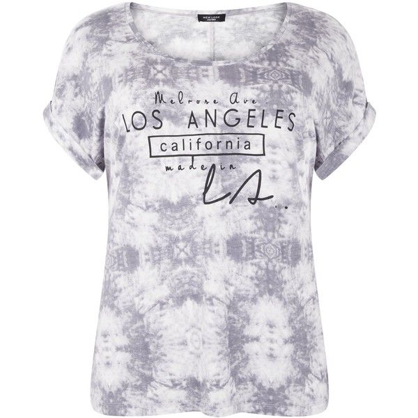 a499f70856bdb Plus Size Damenmode · Batik-t-shirts · Bedruckte T-shirts · Vollschlank ·  Los Angeles · New Look Curves Grey Tie Dye Los Angeles Print T-Shirt (£7)