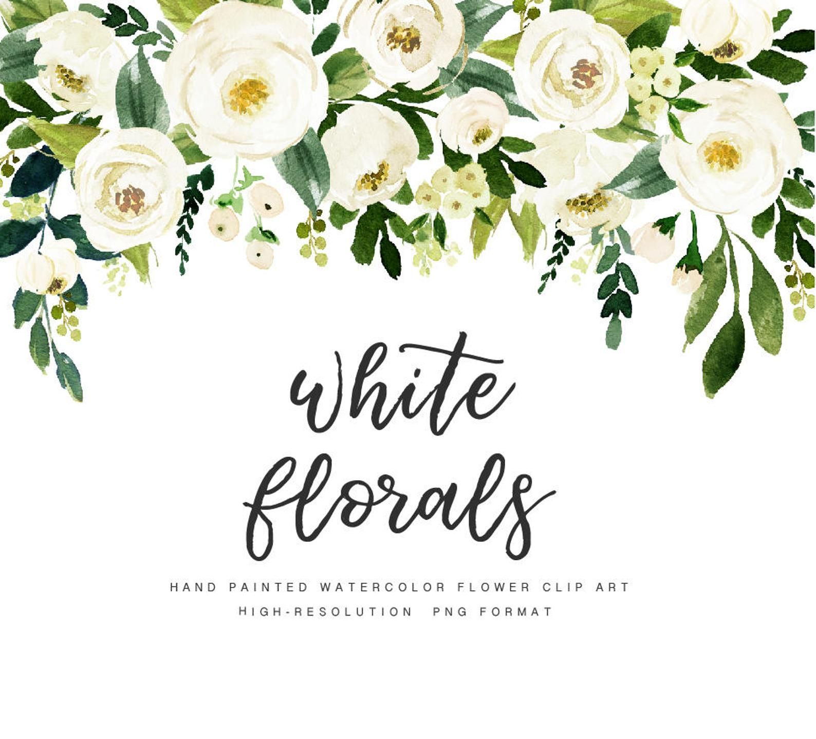 White Flower Small Set Individual Png Files Hand Etsy In 2021 Watercolor Flowers Watercolor Flower Wreath Floral Watercolor