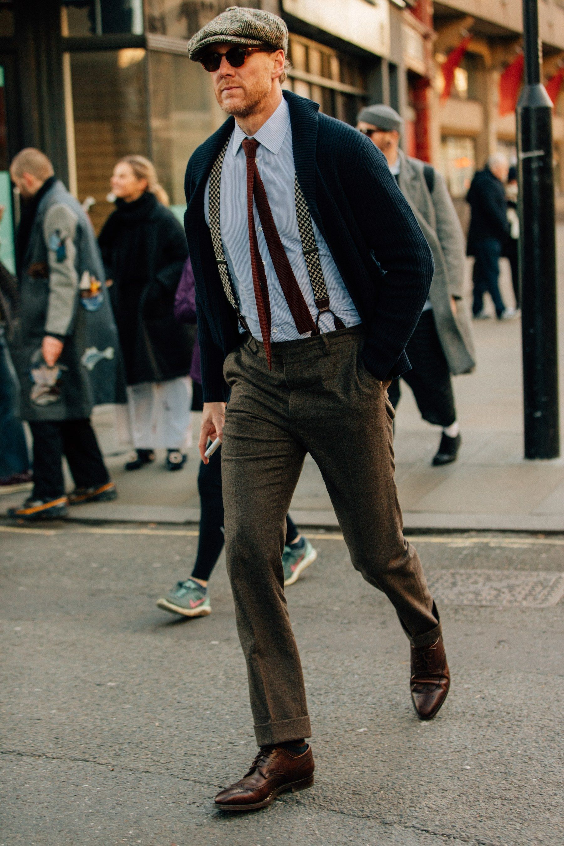 How London Fashion Week S Most Stylish Guys Dress For Winter Mens Street Style Suspenders Men Fashion Cool Street Fashion