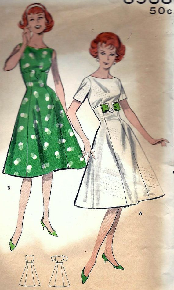 Vintage 50s 60s Butterick 8938 Dress Sewing Pattern B34 14 ...