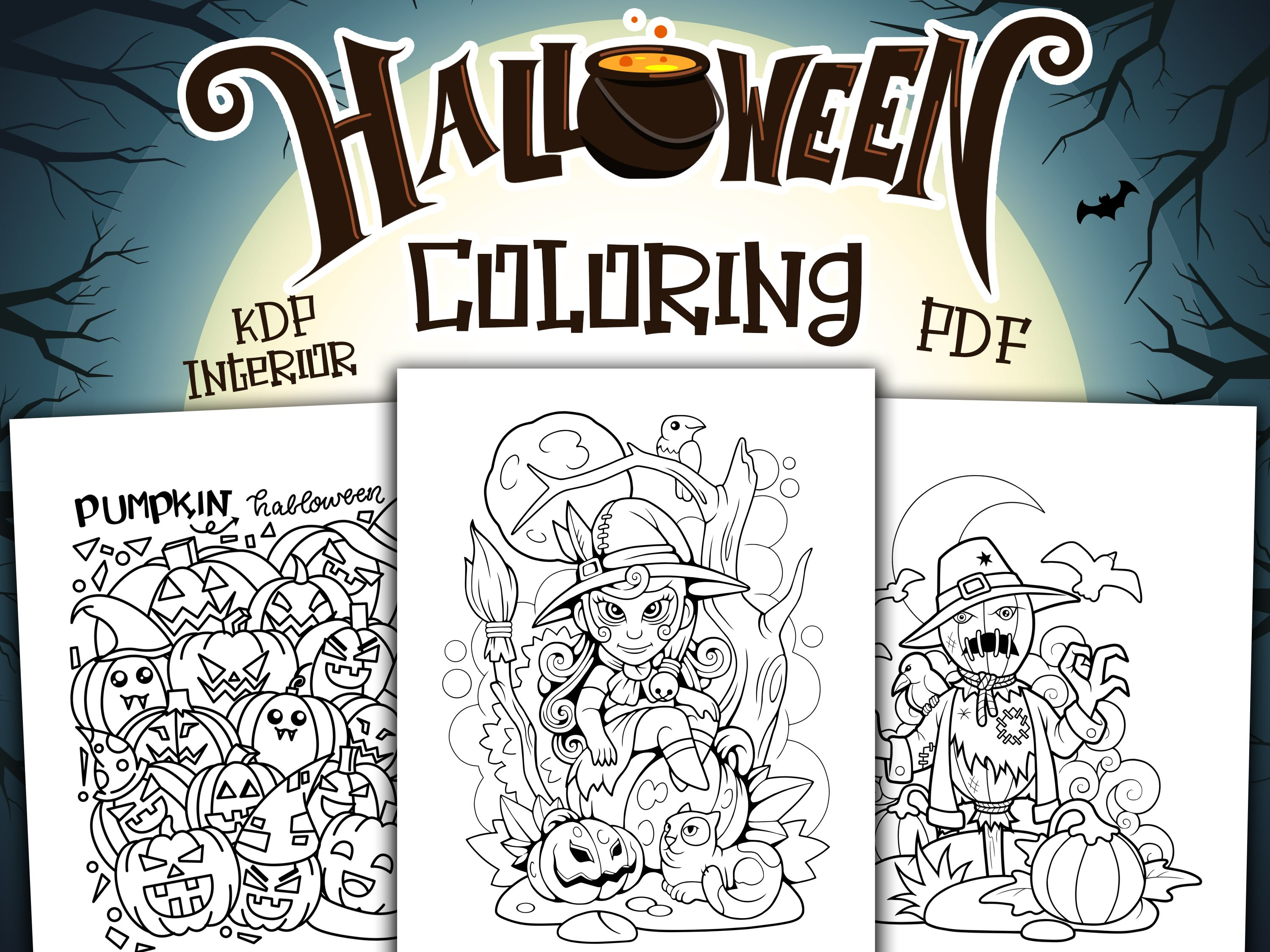 Halloween Holiday Coloring Pages For Kids Children Boys Girls Kdp Interior Template Vector Halloween Coloring Book Halloween Coloring Pages Halloween Coloring