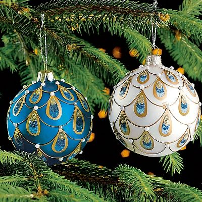 Pair of Feather Glass Decorations PEACOCK Christmas tree - peacock christmas decorations