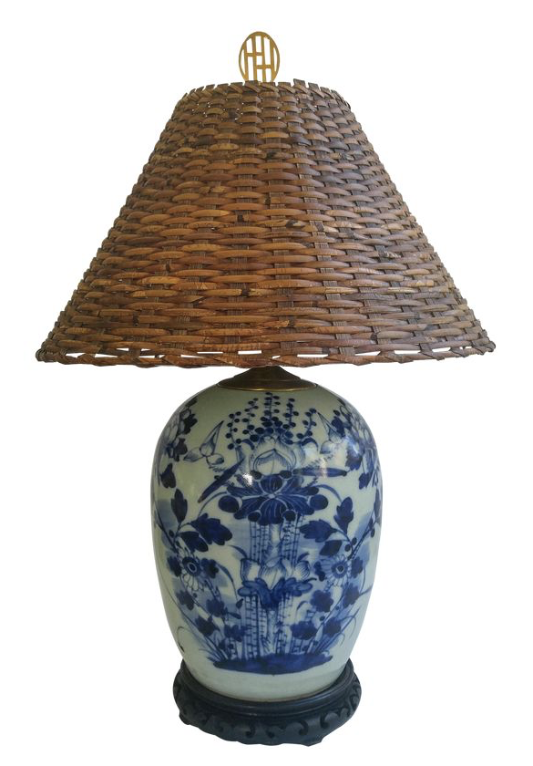 Chinese Blue And White Porcelain Lamp With Wicker Shade Nice Mix Ginger Jar Lamp Wicker Lamp Shade Chinoiserie