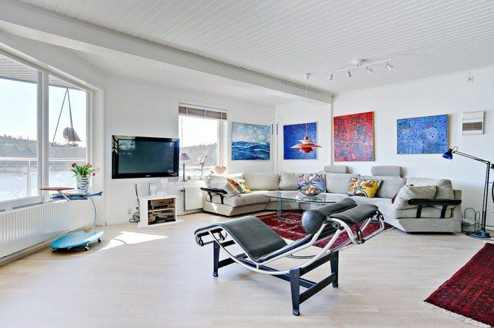 dekoideen wohnzimmer wandbilder weiße wände rote teppiche - wandbild für wohnzimmer