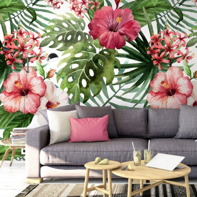 Tropikalna Tapeta Na Sciane W Palmy I Kwiaty Cheerful Tropics Jungle Wallpaper Diy Letters Wallpaper