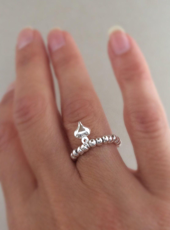 heart ring, rose gold heart, dangle heart charm, beaded ring