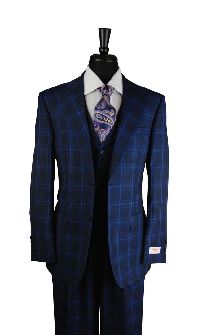 00275e796b0c Tiglio Navy Blue Purple Checkered Plaid 3 Piece Suit (RS6308/2) @  SuitYourselfMenswear.com