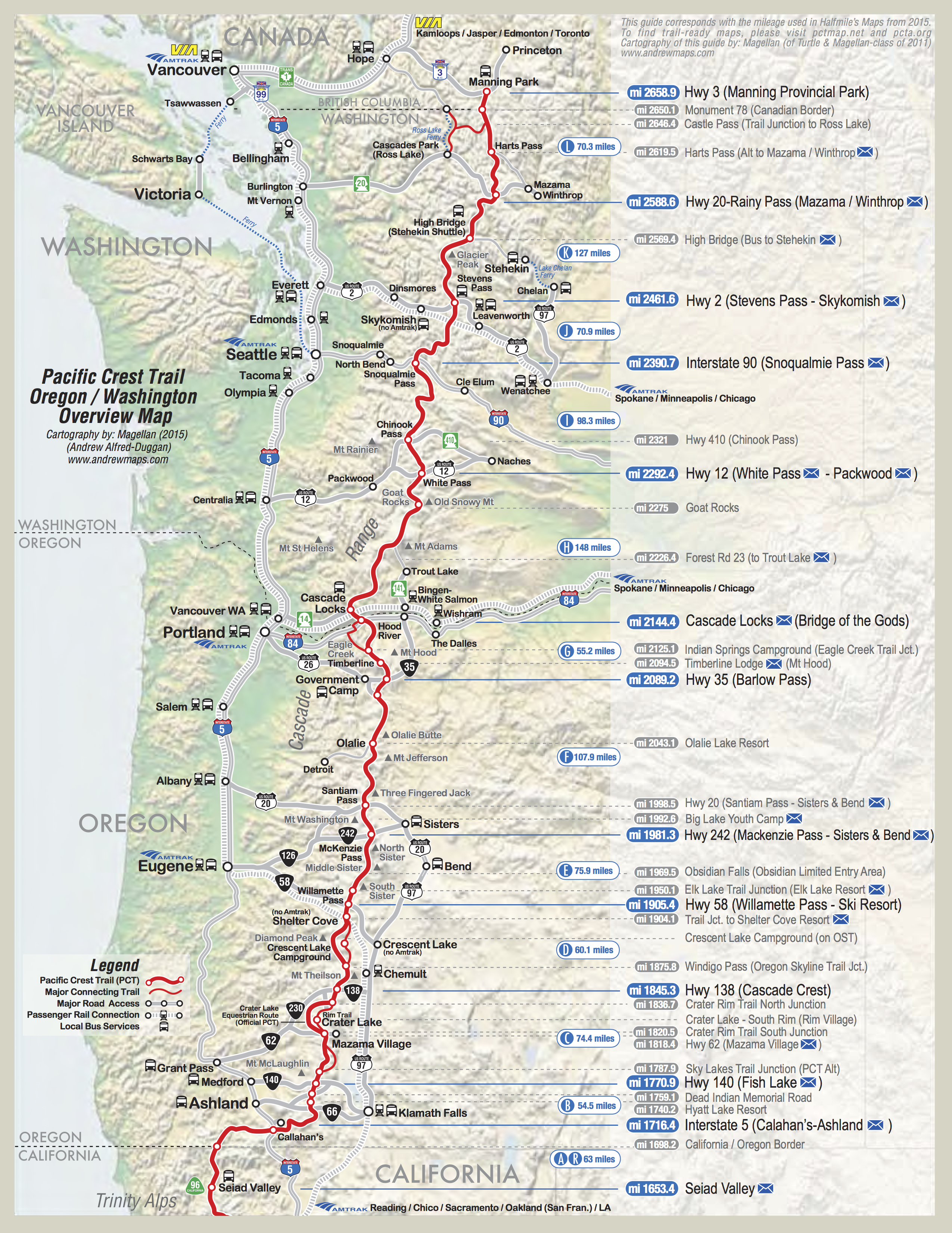 take a hike map of the pacific crest trail. pct map california  california map  pct  pinterest  california