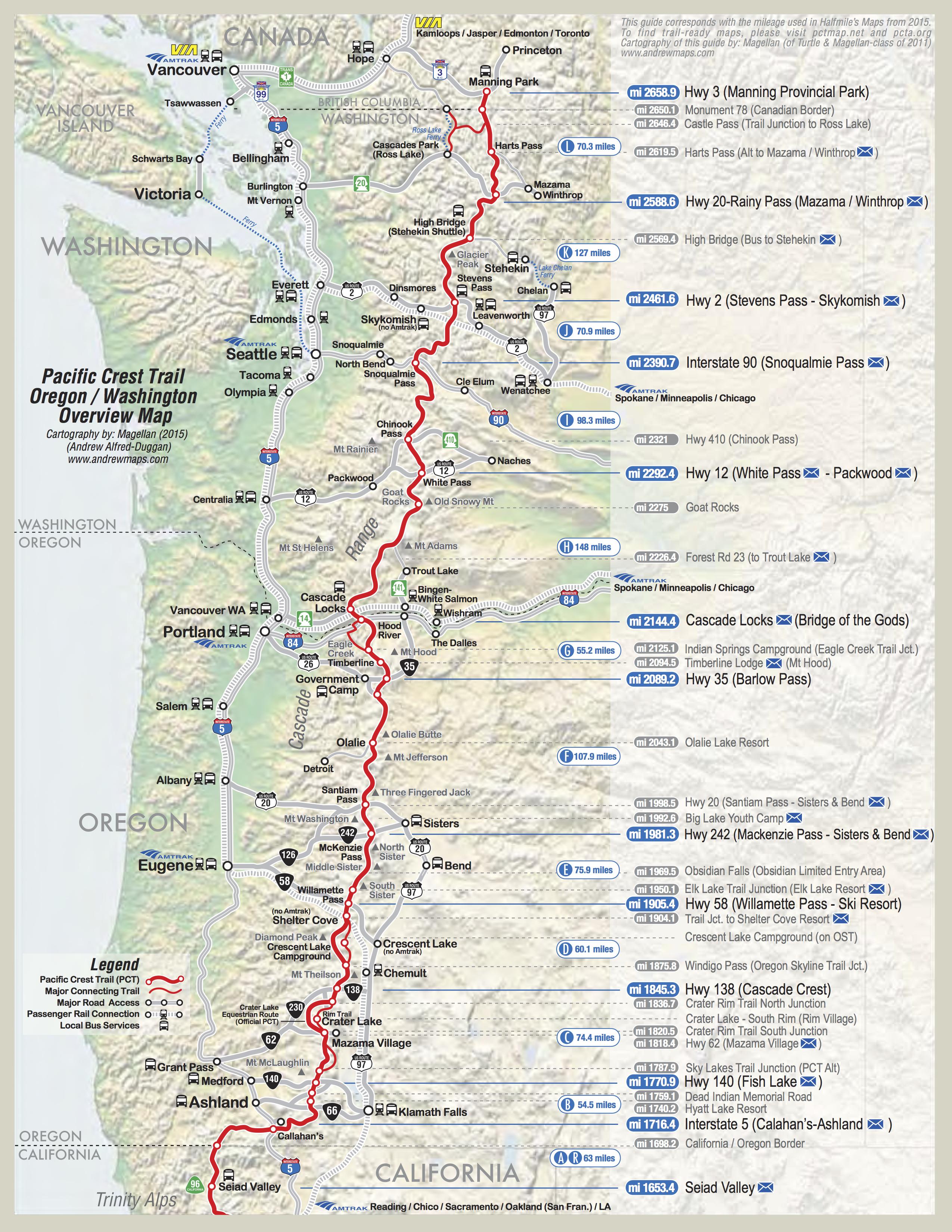 Pct Map California | California Map | PCT