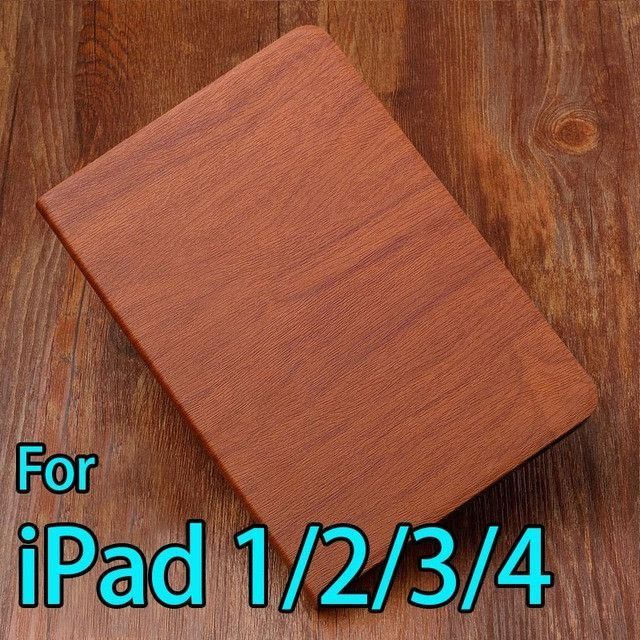 Buy one get one screen film for iPad air2 1 case smart cover for iPad 4 2 3 Fashion PU Wood Grain Leather 2017 free shipping AKR