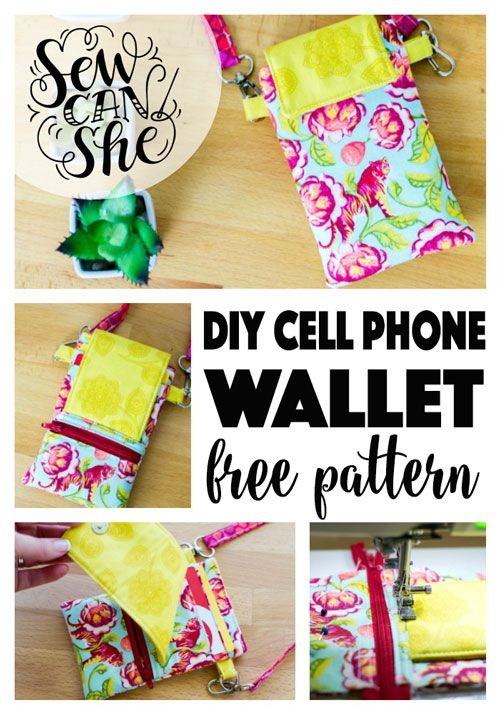 Cell Phone Wallet With Benefits Free Sewing Pattern Pinterest