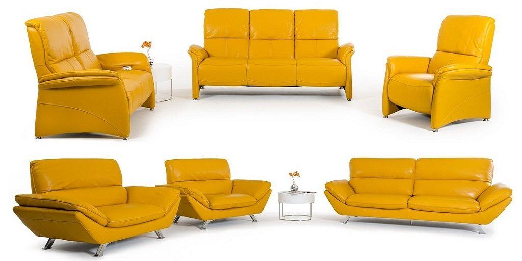 Modern Yellow Leather Sofa Set