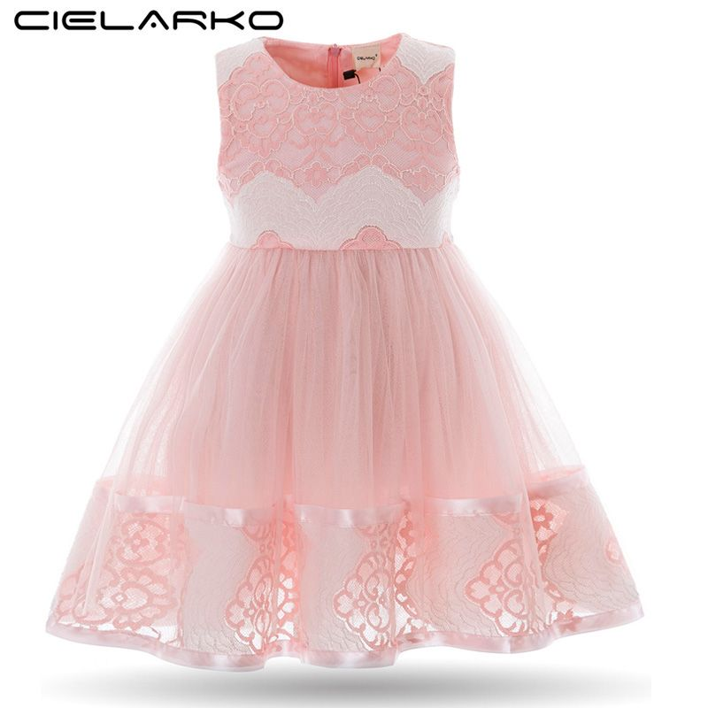 564f53a02c0 Cielarko Kids Girl Fancy Dress Baby Casual Sleeveless Mesh Floral Hollow  Lace Dresses Children Prom Formal