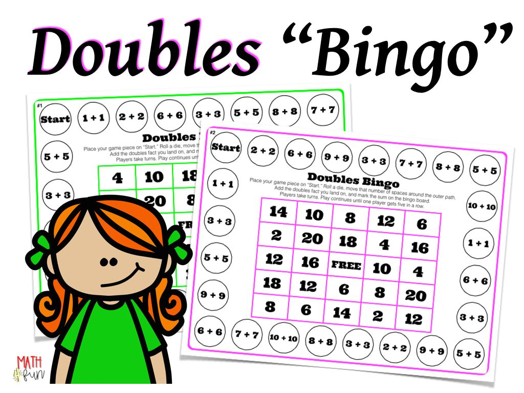 Doubles Addition Bingo From Math 4 Fun Doubles Addition Teachers Pay Teachers Freebies Elementary School Math