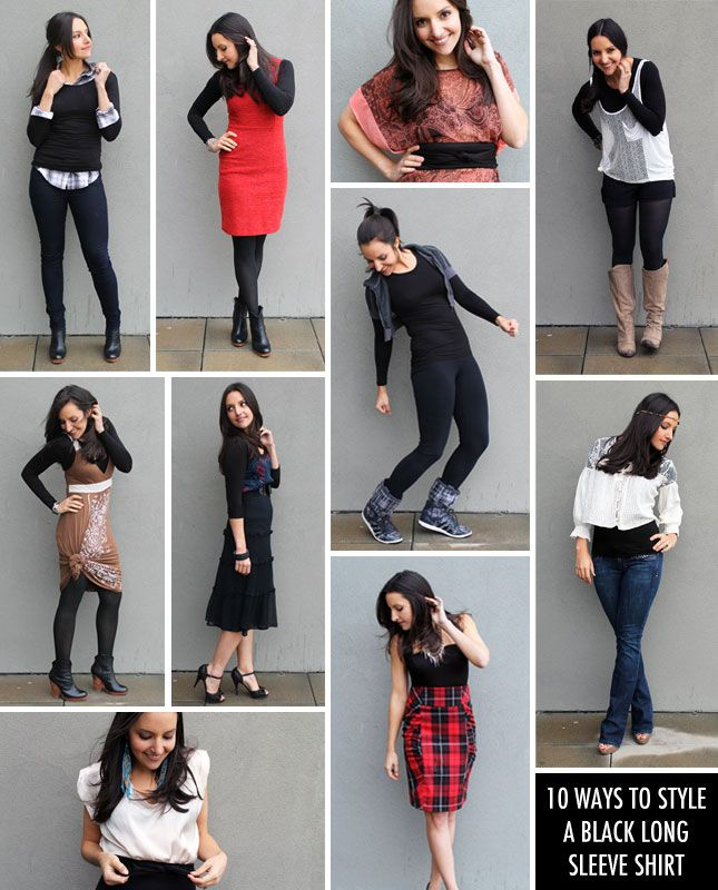 10 Ways to Style a Black Long Sleeve Shirt | Black long sleeve ...
