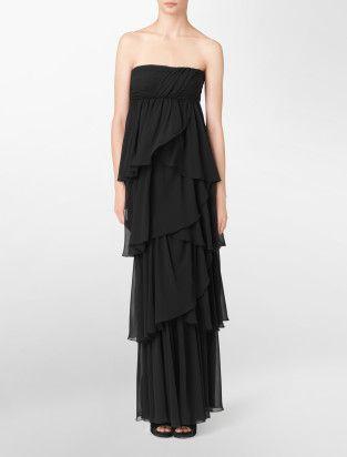 spaghetti strap tiered chiffon gown - dresses- Calvin Klein