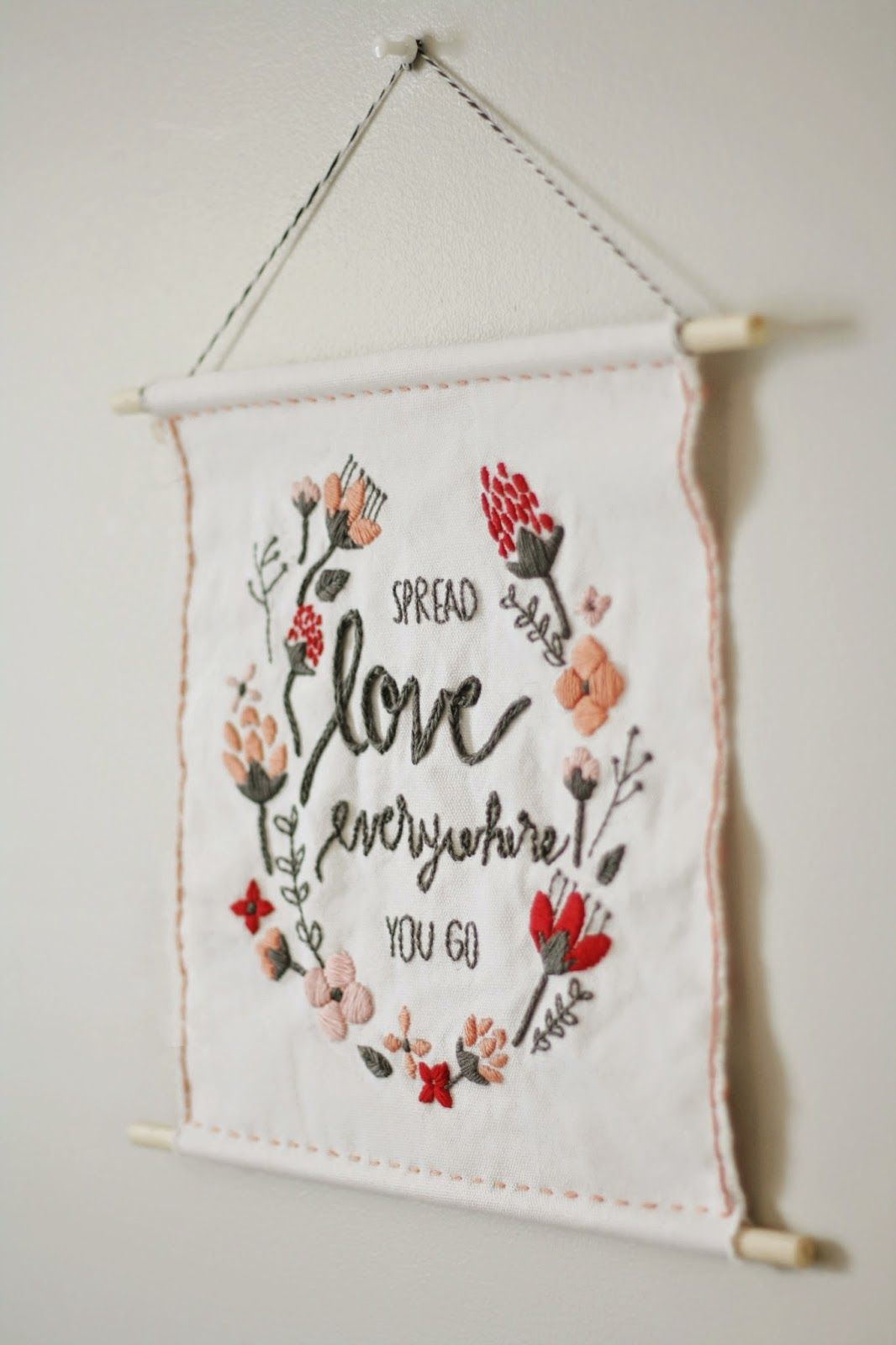 Diy Valentine Wall Hanging Embroidery Inspiration Diy Embroidery Embroidery Gifts