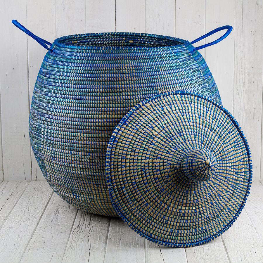 """African Woven Baskets: Blue African Basket Bell Jar With Lid (24.5""""h)"""