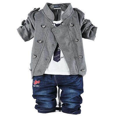 3PC Baby Boy Clothes Denim Suits Kid/'s Boy/'s Outfits Clothing Coat T-Shirt Pants
