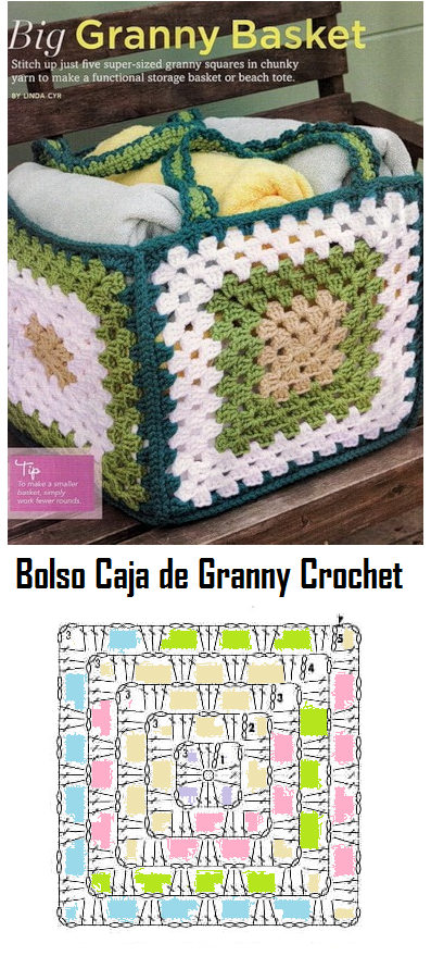 Bolso Caja de Granny - Patrones Crochet   grannys para divertirse ...