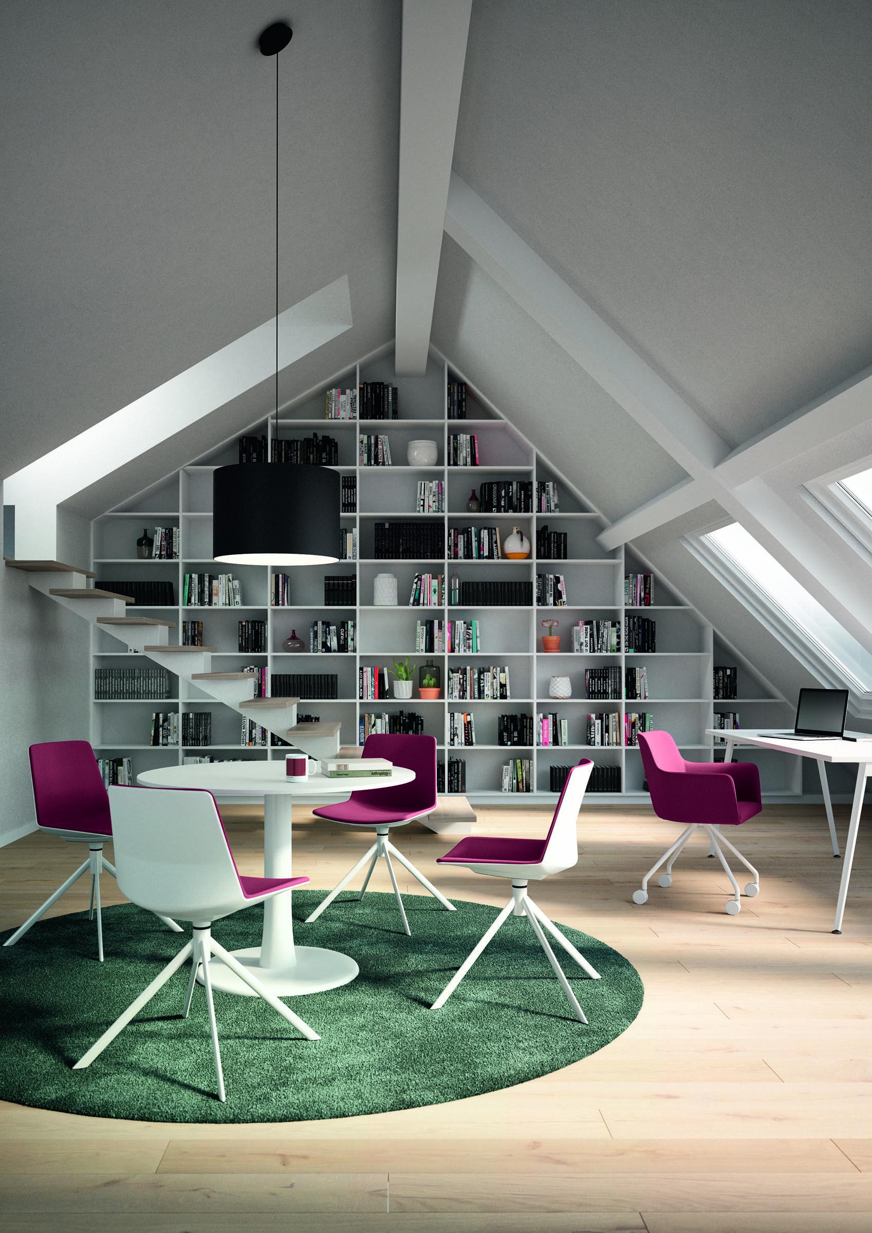 Quadrifoglio Mobili Per Ufficio.Range Of Tables With Biconical Basement In Lacquer Finish With