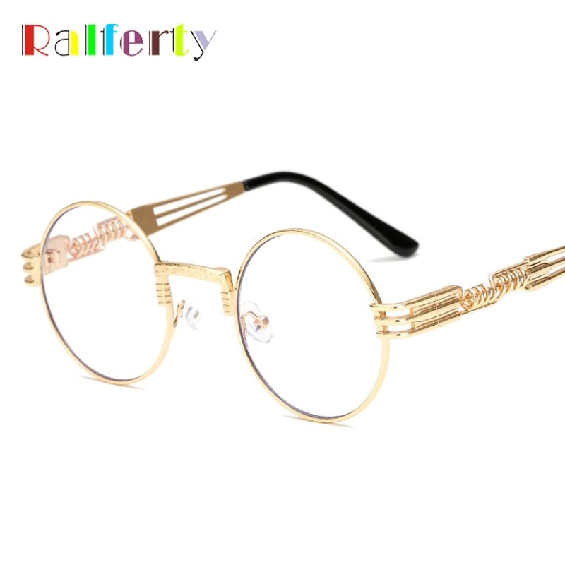 ab36b6c410 Ralferty Vintage Round Steampunk Sunglasses Women Men Steam Punk Gold  Eyewear Hip Hop Shades Teashades Transparent Clear Glasses
