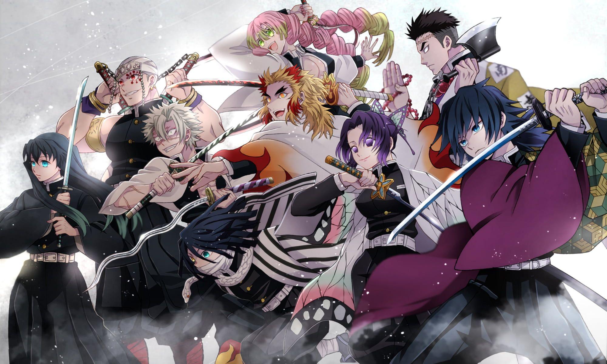 Anime Kimetsu No Yaiba Kyojuro Rengoku Himejima Gyomei Giyu Tomioka Kimetsu No Yaiba Mitsuri Kanroji Tokitou Muichirou Iguro Obanai Anime Anime Demon Demon 29 anime pc wallpaper