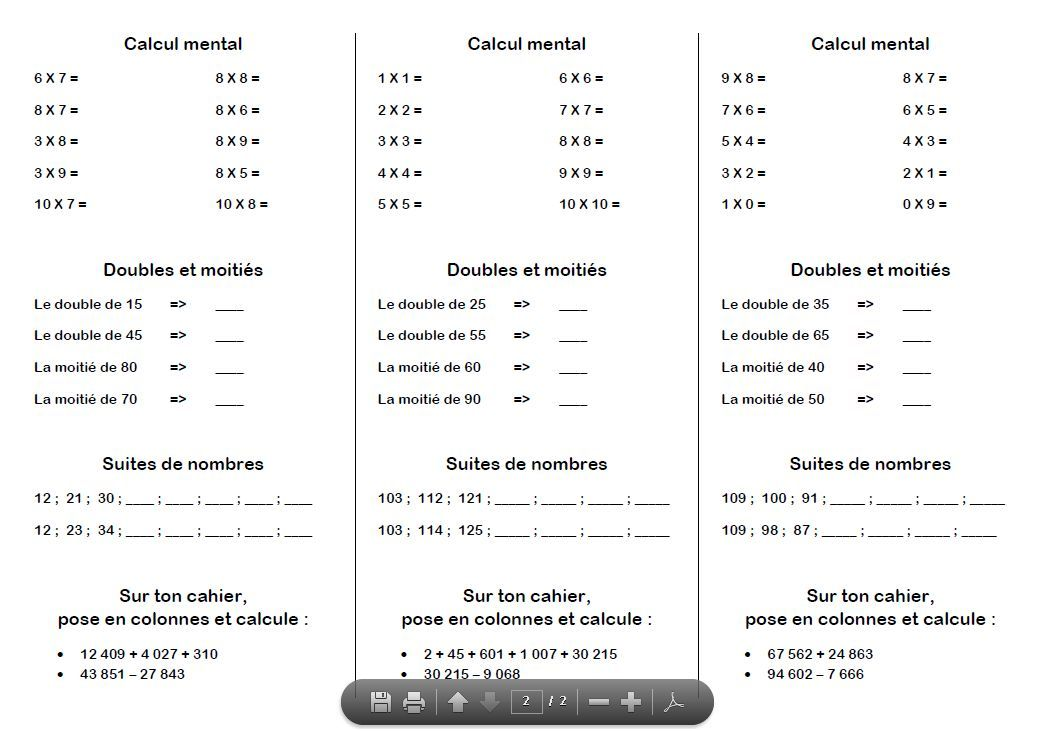Fiche ce2 calcul mental calcul mental 4 pinterest for Calcul multiplication ce2