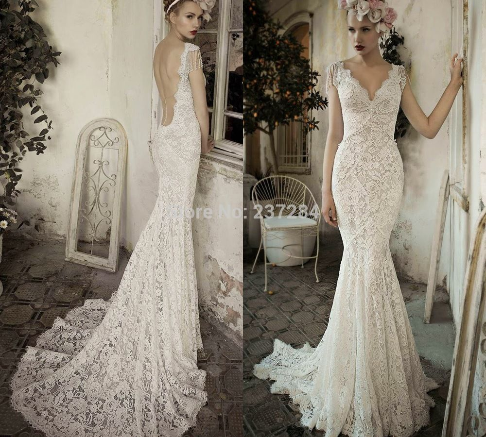Find more wedding dresses information about vintage sleeved v neck