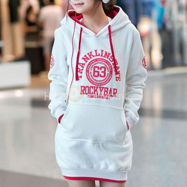 Women's Pocket Design Letter Number Print Long Sleeve Hoodie - $22.06