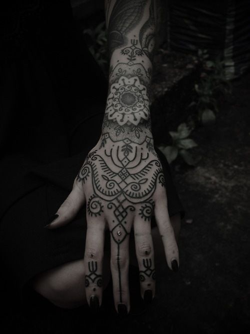 An Indian tribal tattoo that looks like it could be telling a ...