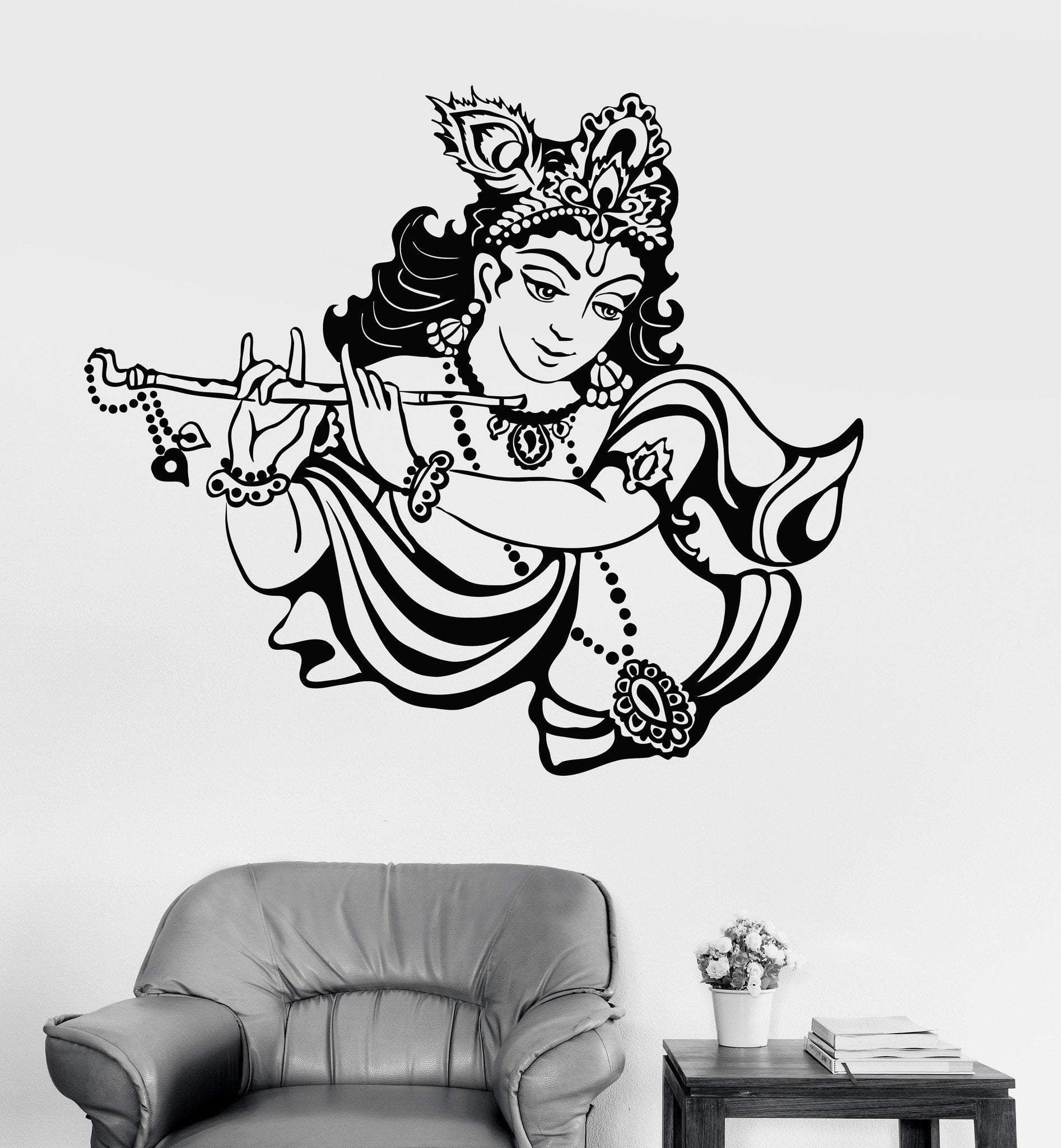 Vinyl Wall Decal Krishna Hinduism God India Hindu Stickers