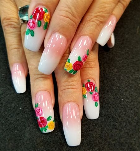 Floral French By Oli123 From Nail Art Gallery Flower Nail Art In